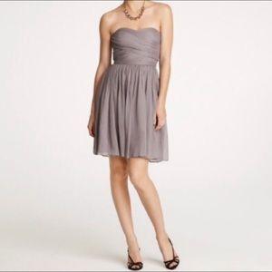 J. Crew Arabelle Gray Silk Strapless Dress Gown 12